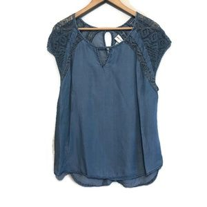 Ava & Viv Denim Chambray Lace Short Sleeve Top